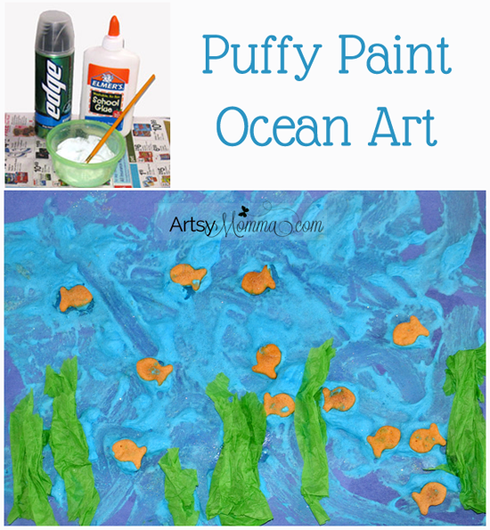 Kids Collage Art: Puffy Paint Ocean