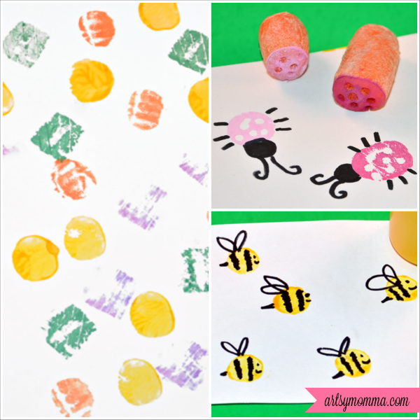 Vegetable Stamping Craft Carrot Bugs on Celery Crafts
