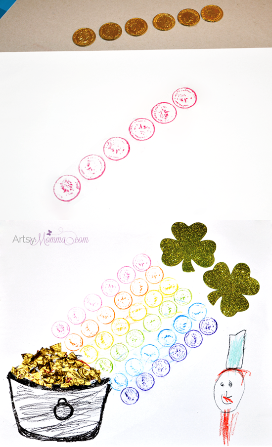Rainbow Gold Coin Crayon Rubbings |  St Patrick's Day Craft