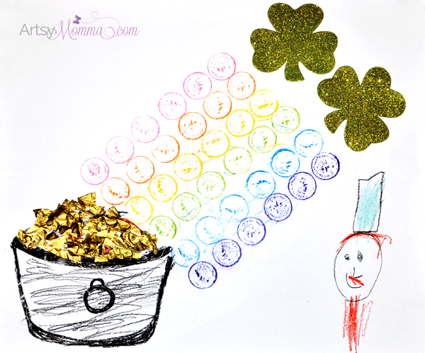 St Patrick's Day Craft: Rainbow Gold Coin Crayon Rubbings