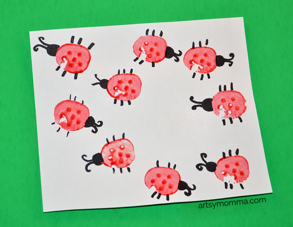 Vegetable Stamped Ladybugs | Kids Craft