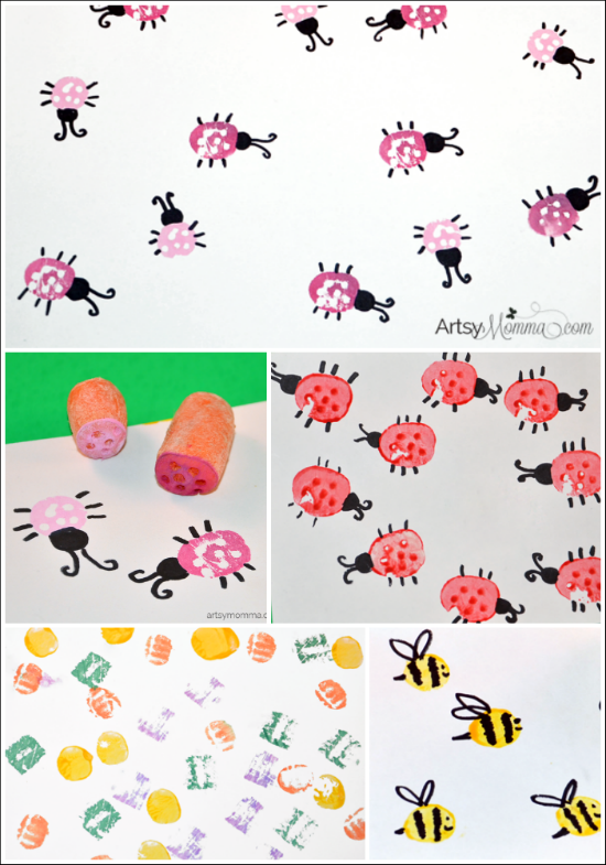Veggie Stamping: Ladybugs and Bees