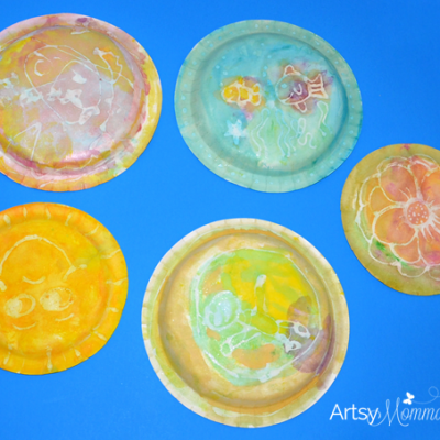 Paper Plate Craft: Watercolor Glue Resist Painting