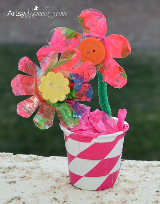 Egg Carton Flowers in a Vase | Kids Recycled Craft