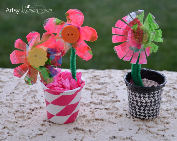 Recycled K Cup Flower Vases