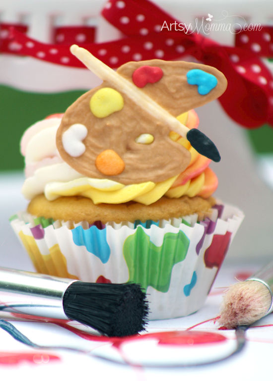 Art Party Birthday Cupcakes with edible paint palette toppers - tutorial!