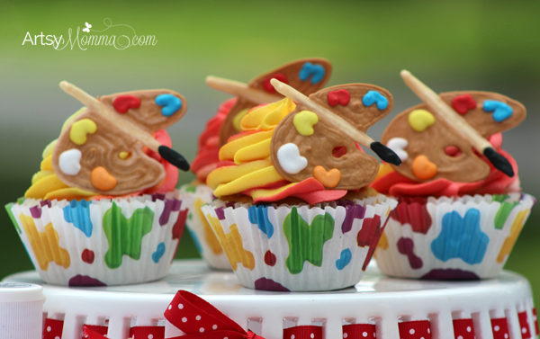 Art Party Cupcakes: Recipe with Edible Paint Palette Toppers