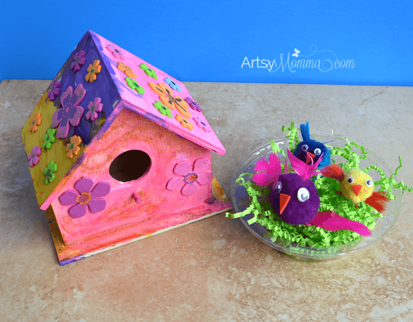 Easy wooden birdhouse craft for kids artsy momma for Easy birdhouse ideas