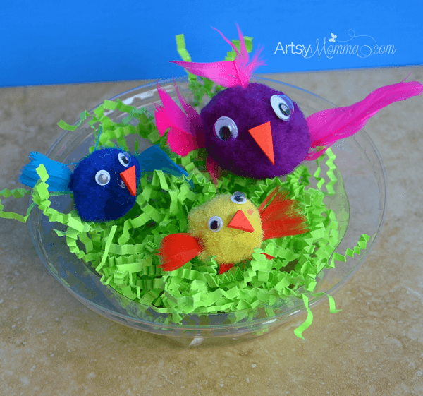 Easy Pom Pom Birds and Nest Craft for Kids