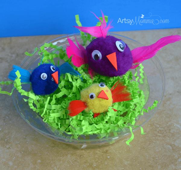 Easy Pom Pom Birds and Nest Craft for Kids