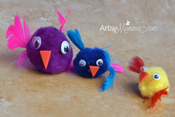 Easy Bird Craft for Kids made with Pom Poms