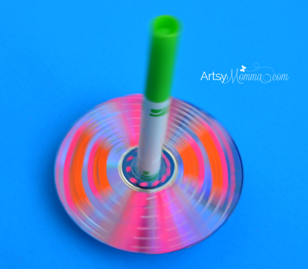 Simple Recycled CD Spinning Toy Tops