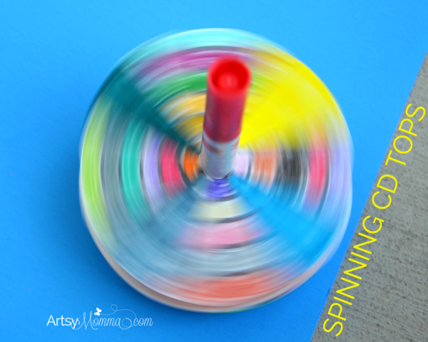 Spinning CD Tops - fun recycled craft for kids!