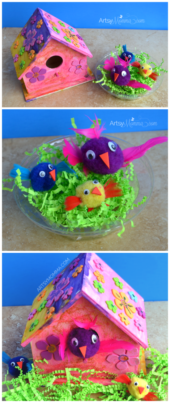 Decorate a Wooden Birdhouse Craft and make Pom Pom Birds to play with!