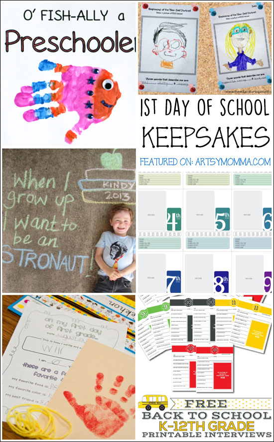 1st Day of School Keepsakes - 10 fun ideas!
