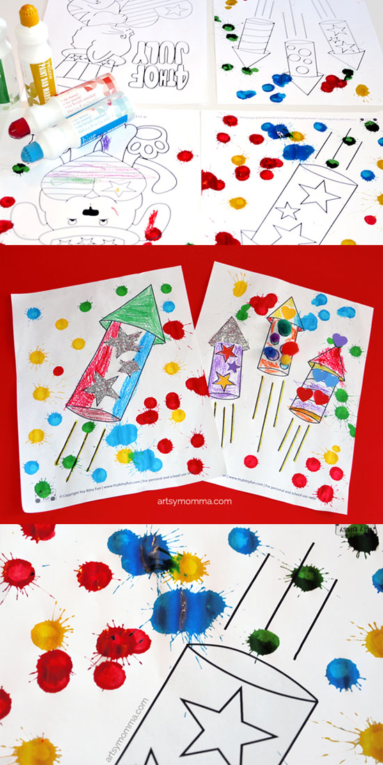 4th of July Coloring Page Crafts for Kids