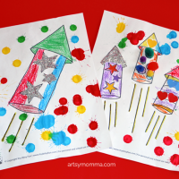4th of July Rockets Coloring Page Activity