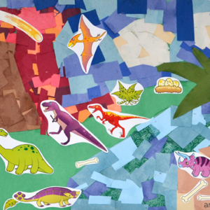 Scrap Paper Collage Art with Dinosaur Stickers