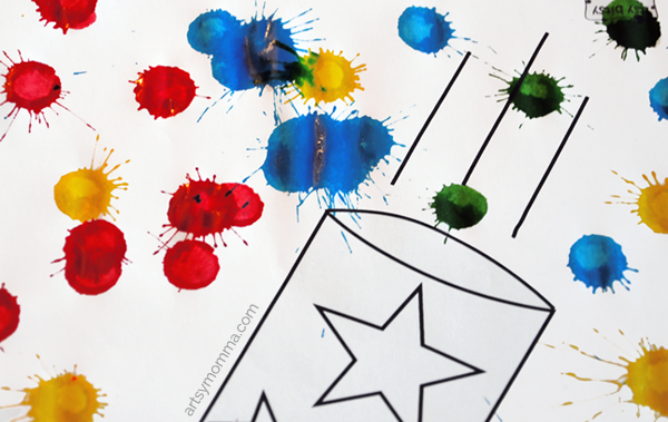 Simple Fireworks Craft using Do-a-dot Markers & 4th of July Coloring Pages