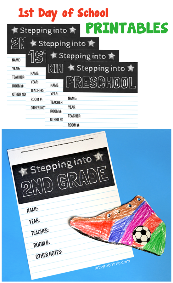Free 1st Day of School Printables for 3-7 year olds