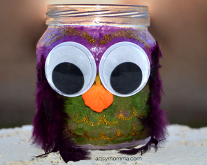 Decoupage Jar Owl Craft for kids