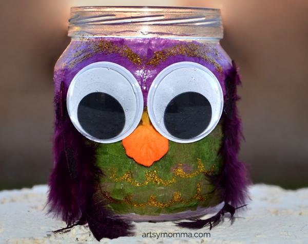 Decoupage Jar Owl Craft for kids
