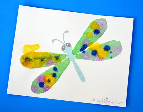 Salt Painting Dragonfly Craft