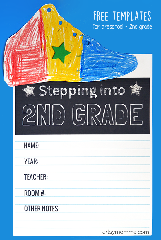 Stepping into 2nd Grade Kids Craft - includes template for preschool, kindergarten, and 1st grade!