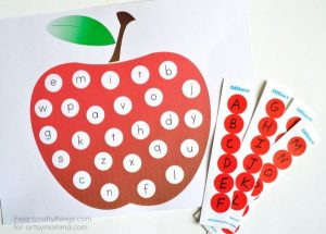 ABC Stickers & Apple Matching Printable