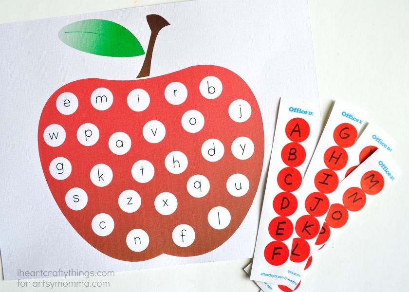 photograph relating to Alphabet Matching Game Printable identified as ABC Apple Matching Printable for Preschoolers - Artsy Momma