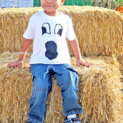 DIY Halloween Ghost Face Shirt for Kids