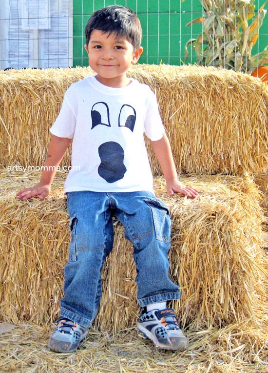 Ghost Face T-shirt, Easy Kids Halloween Craft