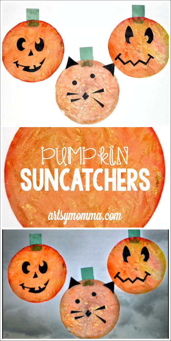 Halloween Decorations Craft: Pumpkin Suncatchers