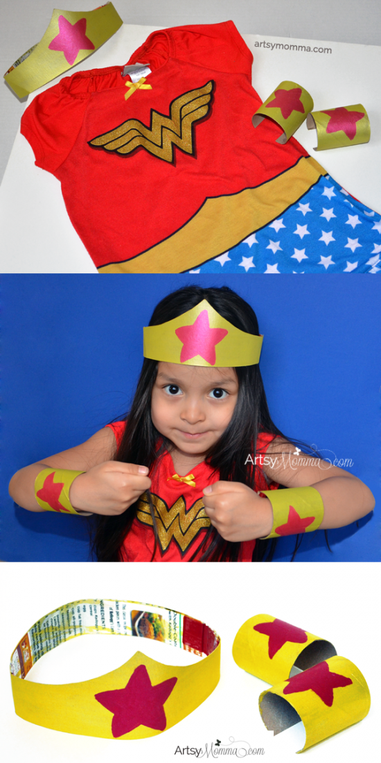 Imaginative Play with Kids: DIY Wonder Woman Tiara and Bracelets