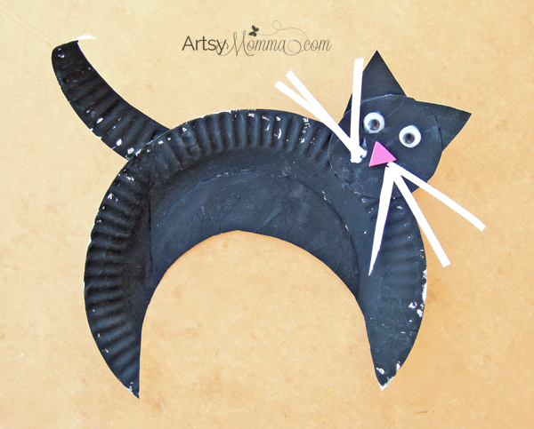 Paper Plate Black Cat - Halloween Craft