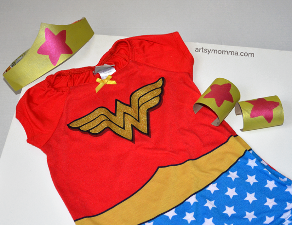 Wonder Woman Crafts: Cardboard Bracelets & Tiara