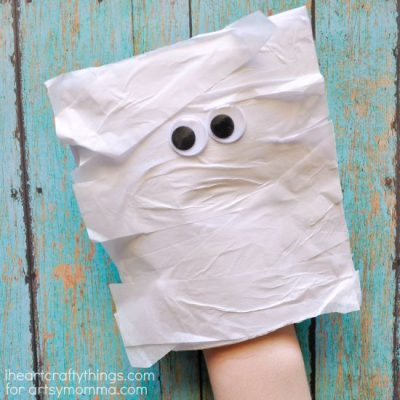 Simple Mummy Puppet Craft for Kids