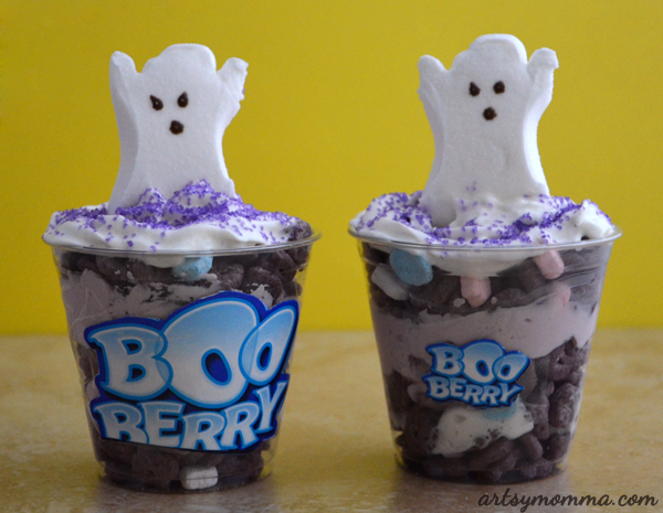 Boo Berry Cereal Parfait for a fun Halloween Snack!
