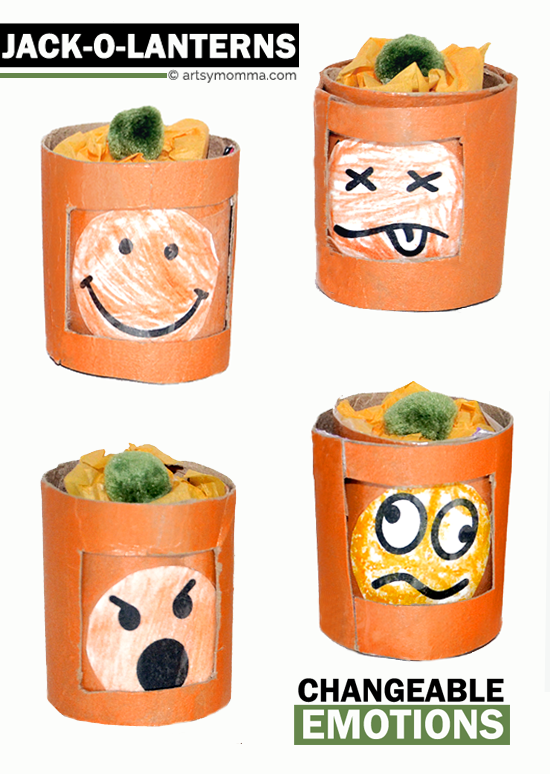 Make Mini Jack-o-lanterns with Changeable Emotions - 12 emotions total!