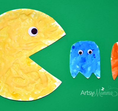 Paper Plate Pac-Man, Inky & Clyde Craft using Puffy Paint!