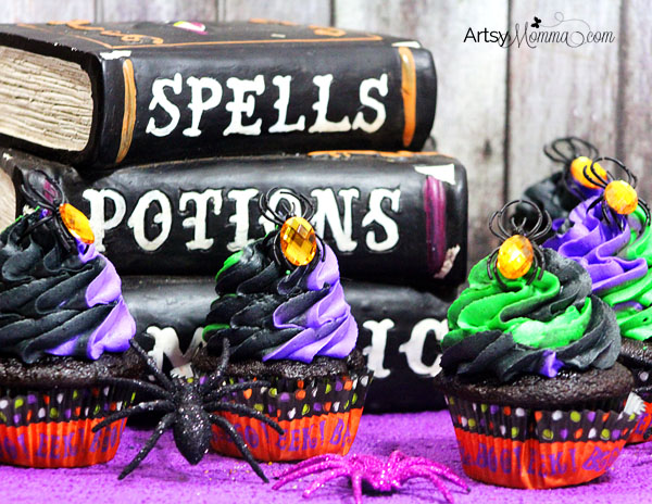 Green, Black, & Purple Swired Halloween Cupcakes with Spider RIngs
