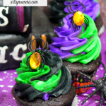 Fun Halloween Spider Cupcakes with Swirled Frosting