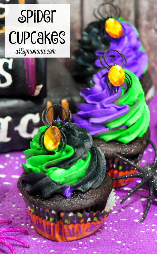 Halloween Spider Ring Cupcakes - Halloween Party Idea