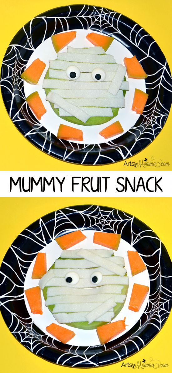 Spooky Mummy Fruit Snack DIY