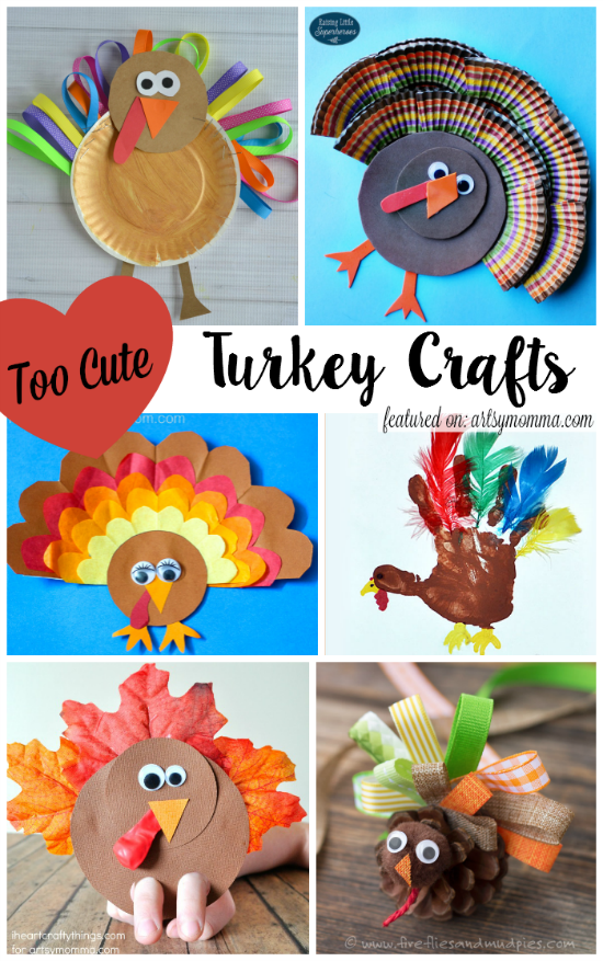Cute Thanksgiving Turkey Crafts for Kids made with ribbon, paper plates, cupcake liners, paper, feathers, leaves, & pine cones.