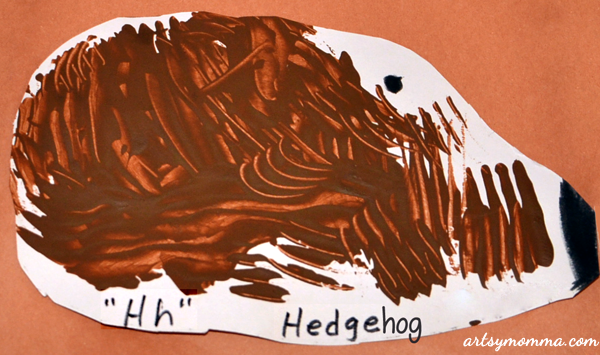 Preschool Hedgehog Craft - Fork Painting - Hibernation Theme