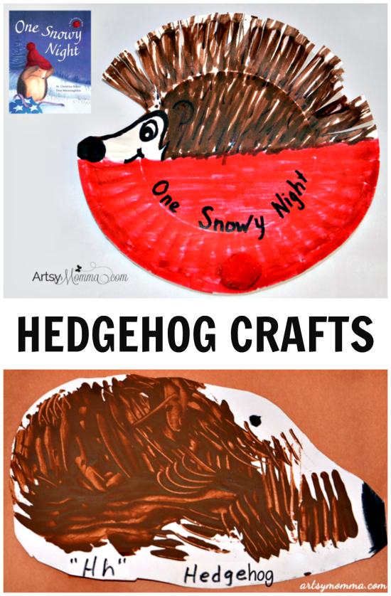 Paper Plate Hedgehog Crafts for Preschoolers + One Snowy Night Book
