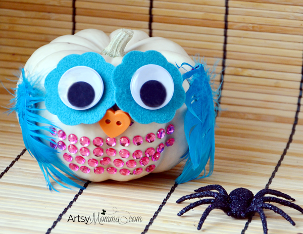 Simple No-Carve Mini Pumpkin Owl Craft