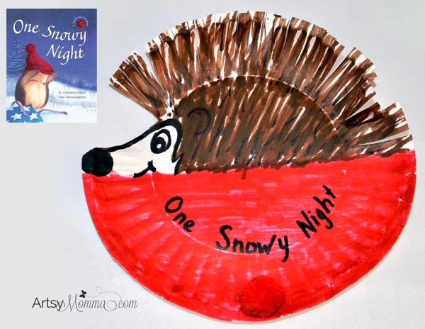 Preschool Hibernation Theme - Winter Craft and Book Idea: Read the story, One Snowy Night, then make an adorable Paper Plate Hedgehog Craft!