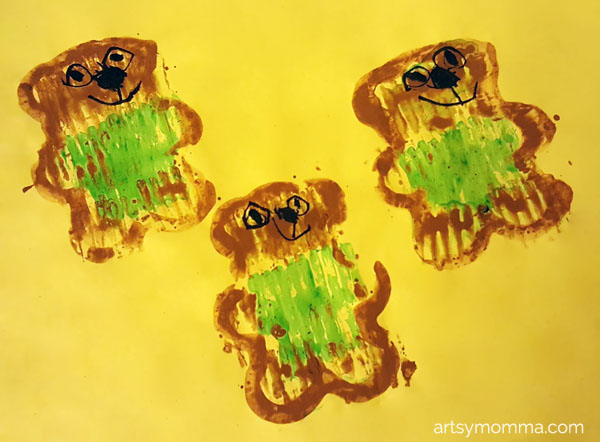 Teddy Bear Cookie Cutter Painting Craft for the Book Corduroy